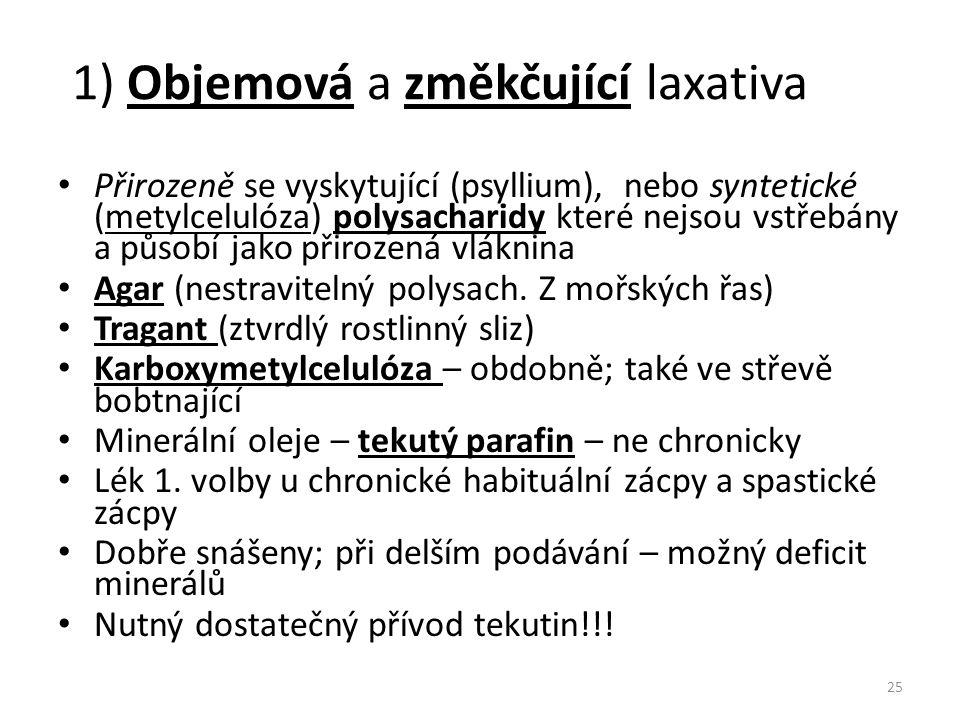1) Objemová a změkčující laxativa