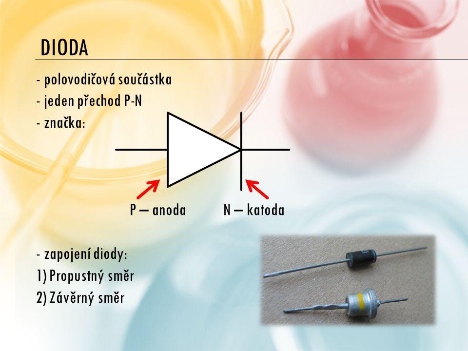 DIODA polovodičová součástka jeden přechod P-N značka: