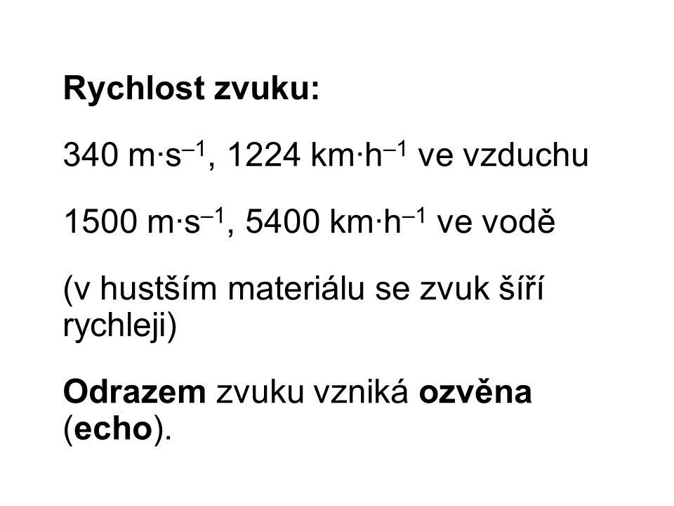 Rychlost zvuku: 340 m∙s–1, 1224 km∙h–1 ve vzduchu. 1500 m∙s–1, 5400 km∙h–1 ve vodě. (v hustším materiálu se zvuk šíří rychleji)