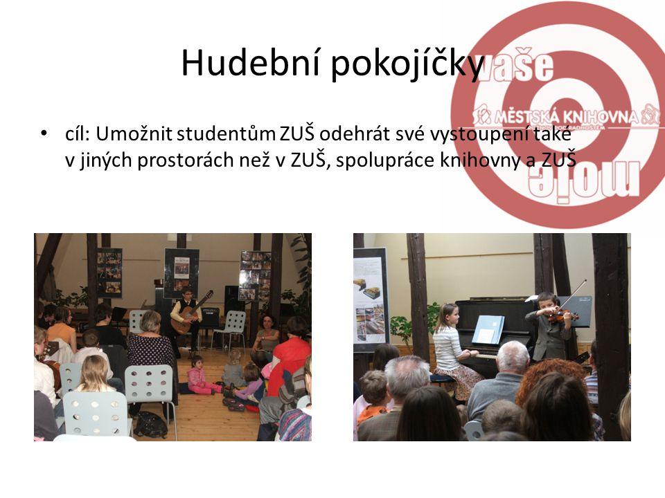 Hudební pokojíčky cíl: Umožnit studentům ZUŠ odehrát své vystoupení také v jiných prostorách než v ZUŠ, spolupráce knihovny a ZUŠ.