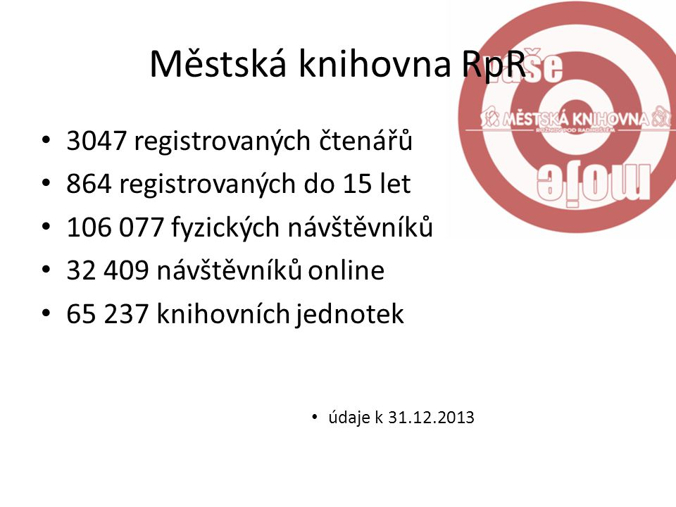 Městská knihovna RpR 3047 registrovaných čtenářů