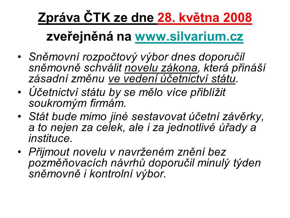 Zpráva ČTK ze dne 28. května 2008 zveřejněná na www.silvarium.cz