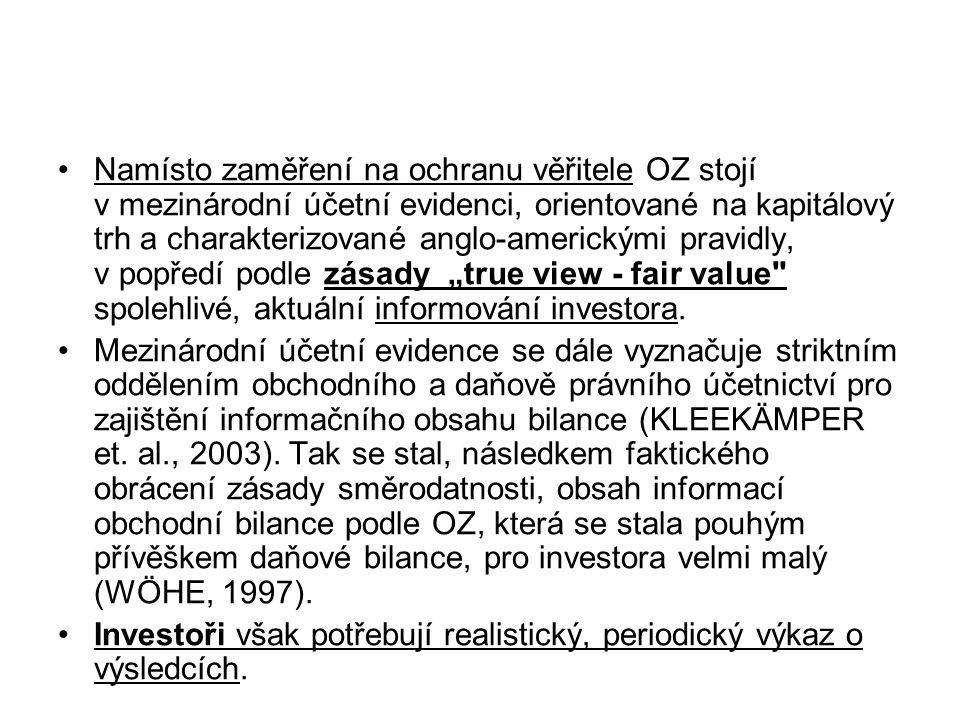 """Namísto zaměření na ochranu věřitele OZ stojí v mezinárodní účetní evidenci, orientované na kapitálový trh a charakterizované anglo-americkými pravidly, v popředí podle zásady """"true view - fair value spolehlivé, aktuální informování investora."""