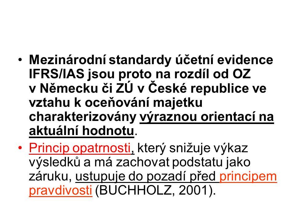 Mezinárodní standardy účetní evidence IFRS/IAS jsou proto na rozdíl od OZ v Německu či ZÚ v České republice ve vztahu k oceňování majetku charakterizovány výraznou orientací na aktuální hodnotu.