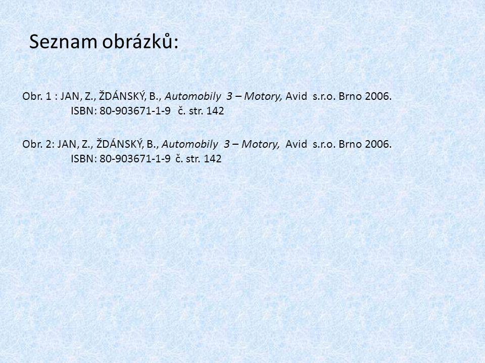 Seznam obrázků: Obr. 1 : JAN, Z., ŽDÁNSKÝ, B., Automobily 3 – Motory, Avid s.r.o. Brno 2006. ISBN: 80-903671-1-9 č. str. 142.