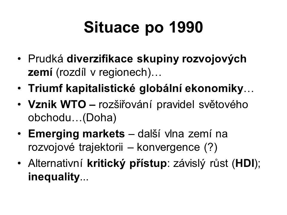 Situace po 1990 Prudká diverzifikace skupiny rozvojových zemí (rozdíl v regionech)… Triumf kapitalistické globální ekonomiky…