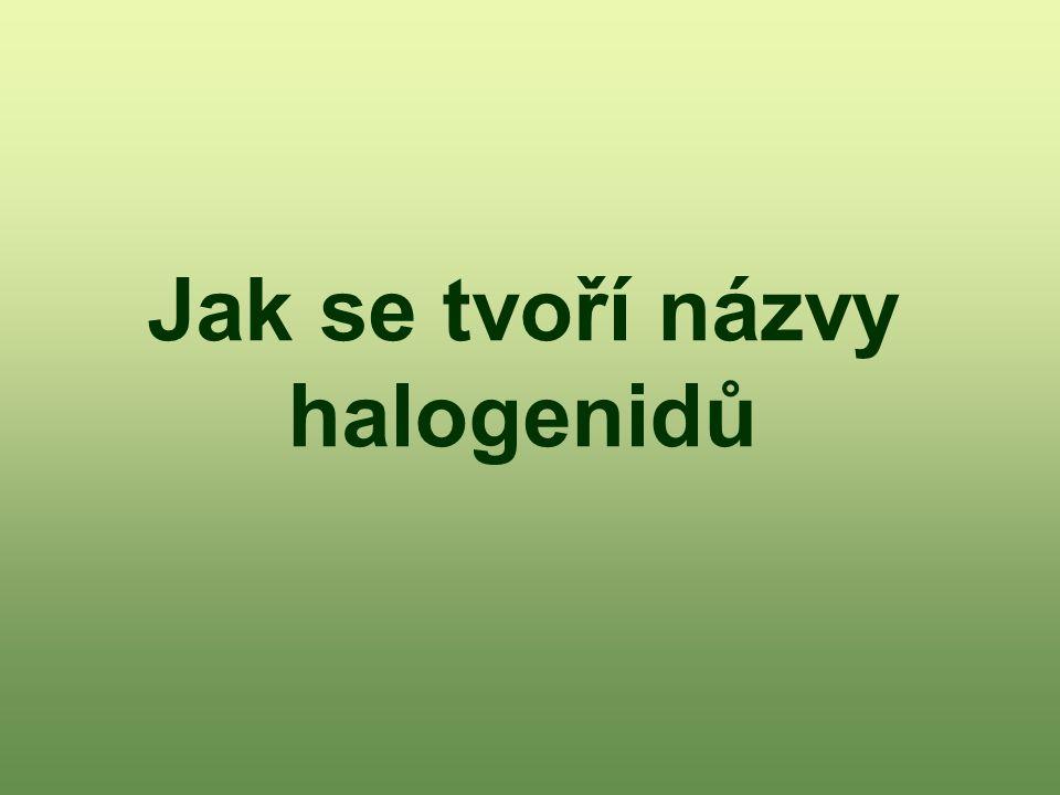 Jak se tvoří názvy halogenidů