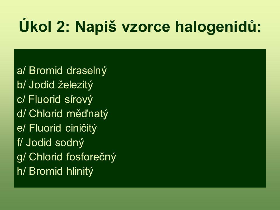 Úkol 2: Napiš vzorce halogenidů: