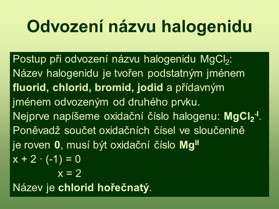 Odvození názvu halogenidu