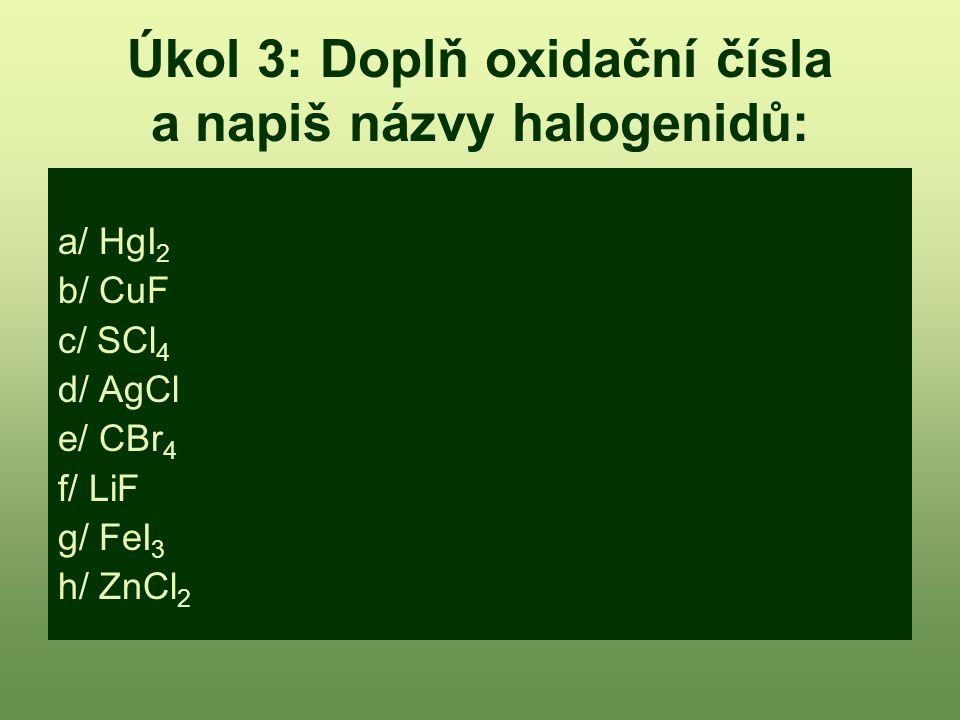 Úkol 3: Doplň oxidační čísla a napiš názvy halogenidů: