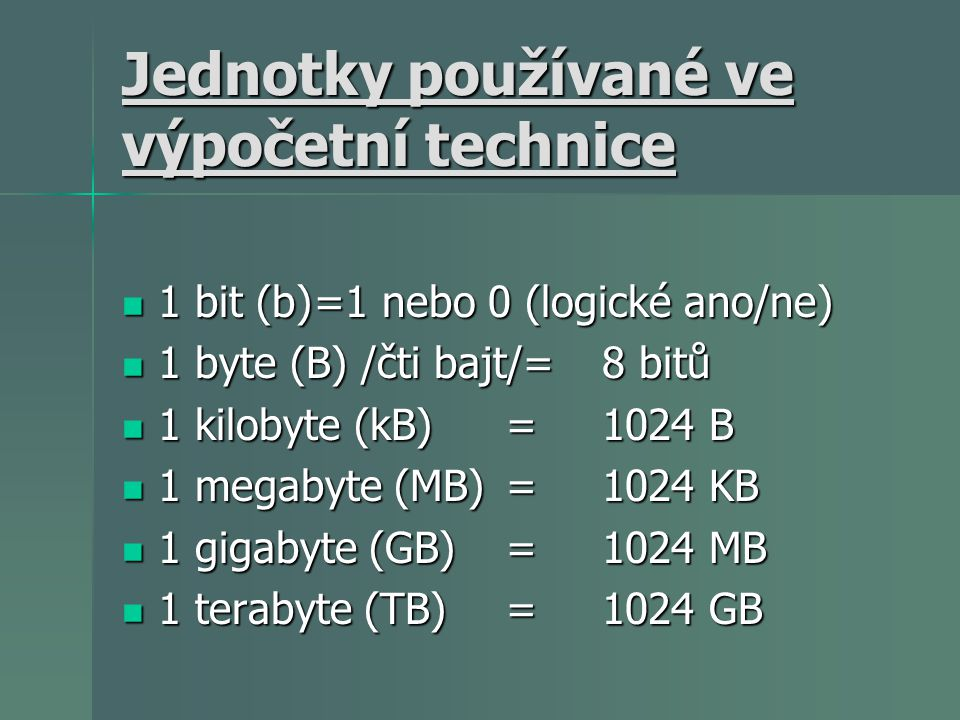 Jednotky používané ve výpočetní technice