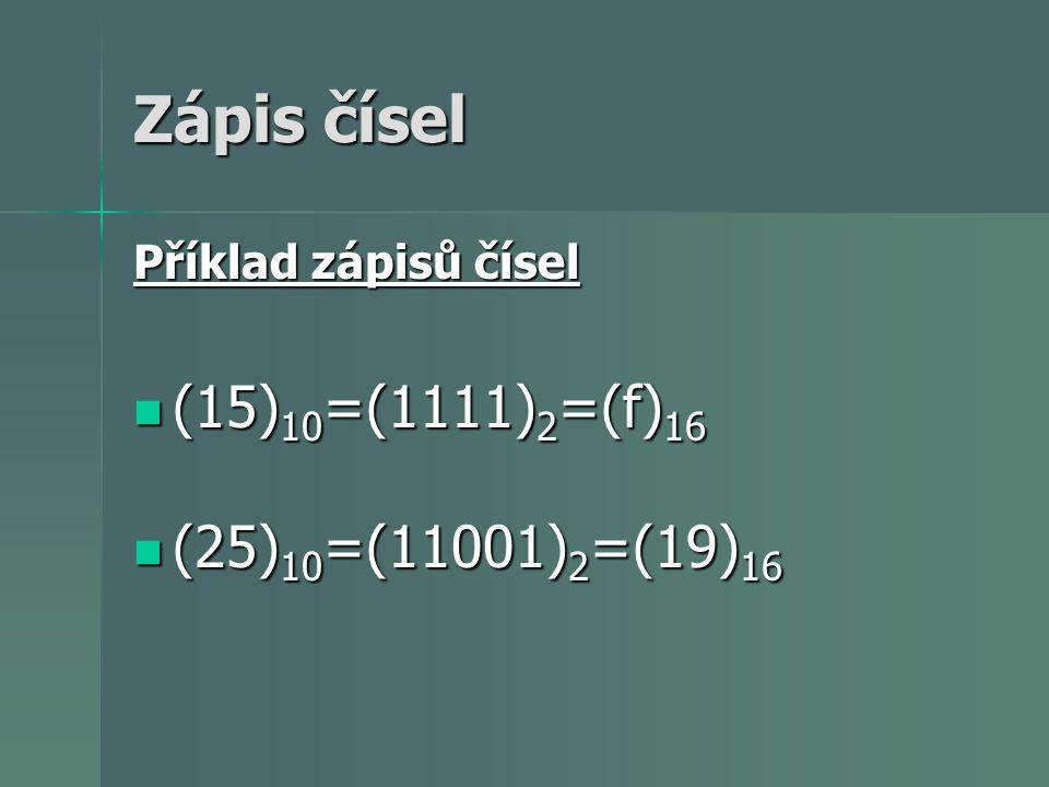 Zápis čísel (15)10=(1111)2=(f)16 (25)10=(11001)2=(19)16