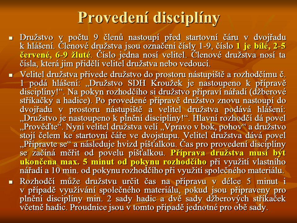 Provedení disciplíny