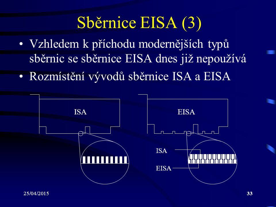 Sběrnice EISA (3) Vzhledem k příchodu modernějších typů sběrnic se sběrnice EISA dnes již nepoužívá.