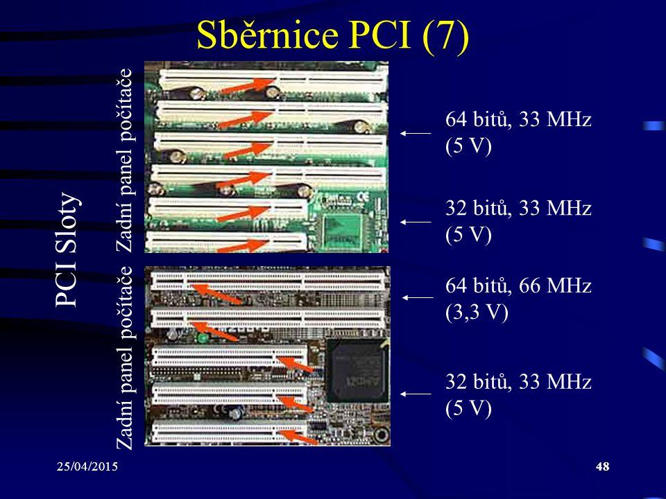 Sběrnice PCI (7) PCI Sloty Zadní panel počítače 64 bitů, 33 MHz (5 V)