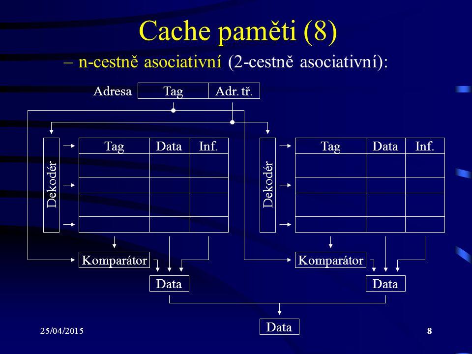 Cache paměti (8) n-cestně asociativní (2-cestně asociativní): Adresa