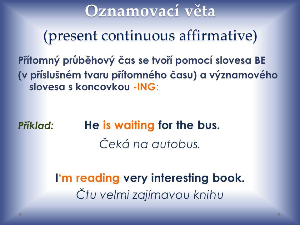 Oznamovací věta (present continuous affirmative)