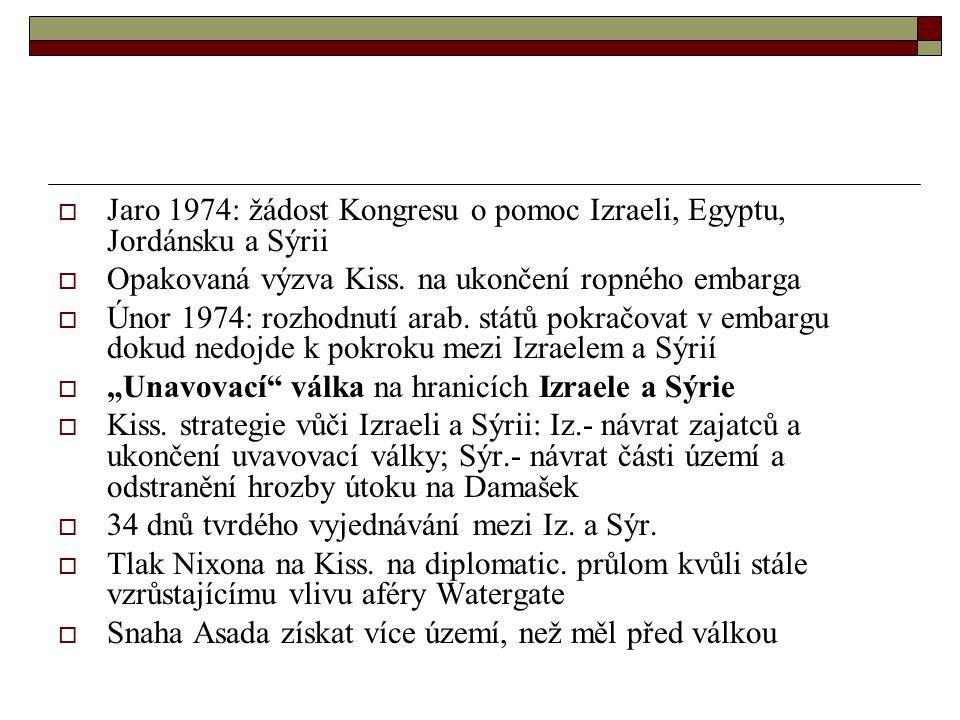 Jaro 1974: žádost Kongresu o pomoc Izraeli, Egyptu, Jordánsku a Sýrii