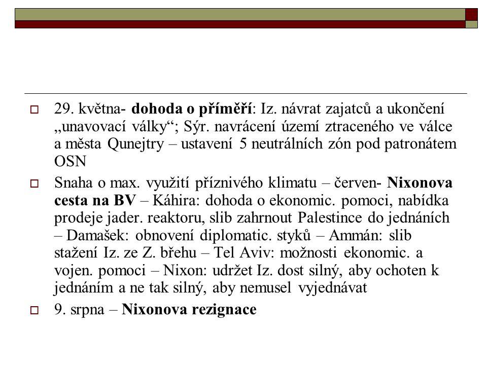 29. května- dohoda o příměří: Iz