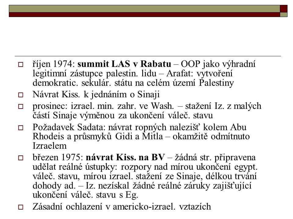 říjen 1974: summit LAS v Rabatu – OOP jako výhradní legitimní zástupce palestin. lidu – Arafat: vytvoření demokratic. sekulár. státu na celém území Palestiny