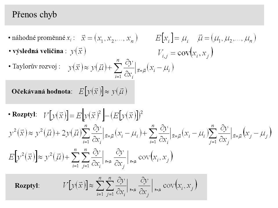 Přenos chyb náhodné proměnné xi : výsledná veličina :