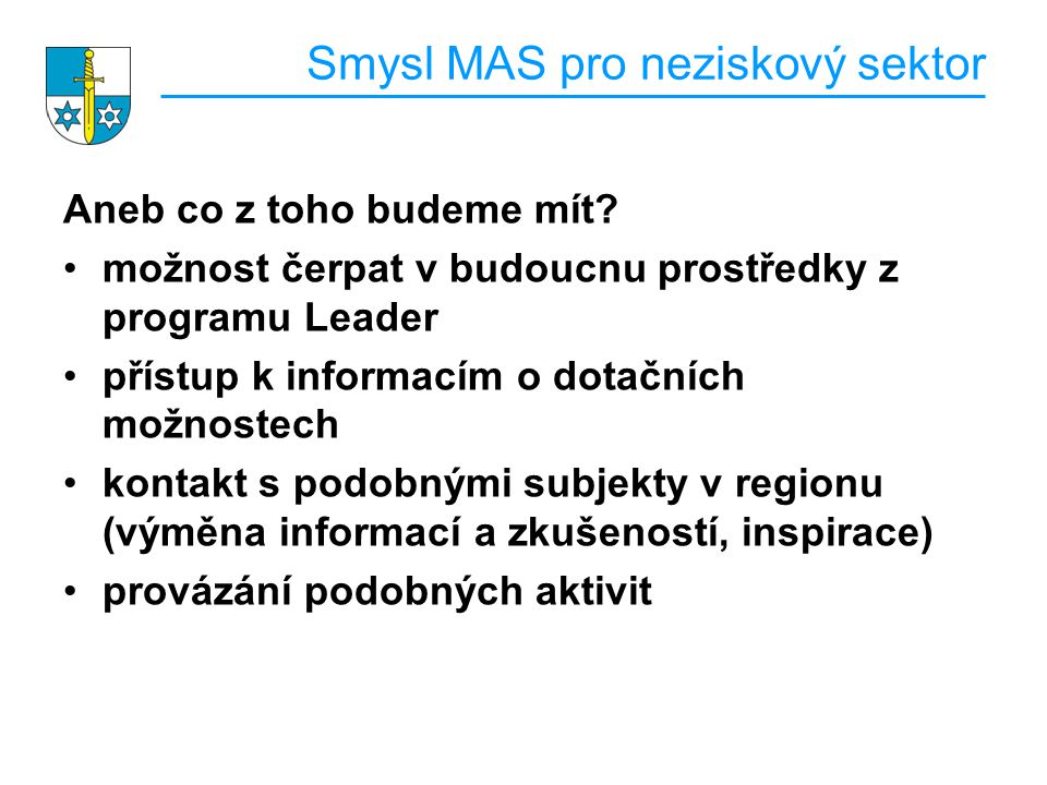 Smysl MAS pro neziskový sektor