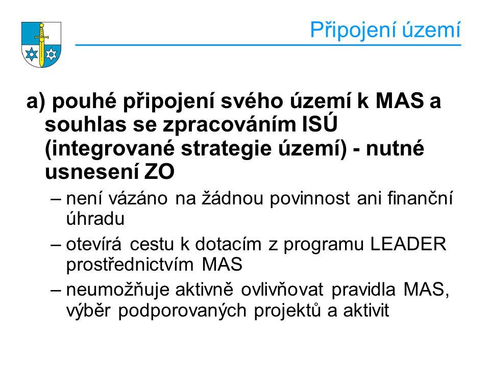 Připojení území a) pouhé připojení svého území k MAS a souhlas se zpracováním ISÚ (integrované strategie území) - nutné usnesení ZO.