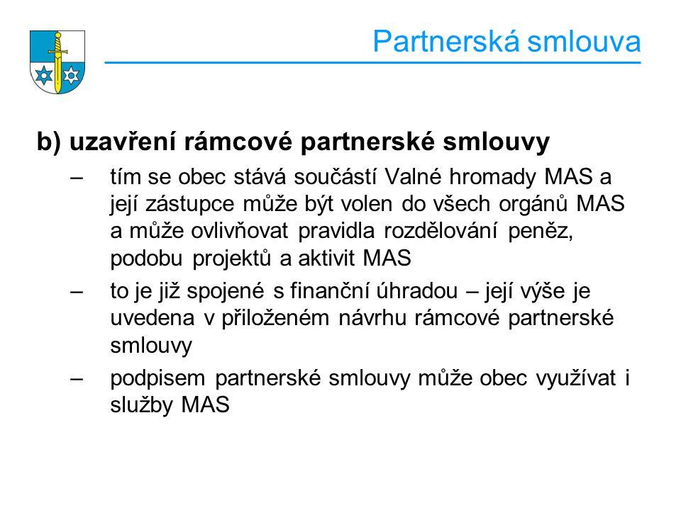 Partnerská smlouva b) uzavření rámcové partnerské smlouvy