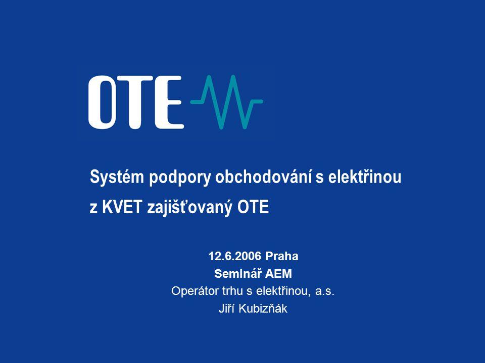 Systém podpory obchodování s elektřinou z KVET zajišťovaný OTE