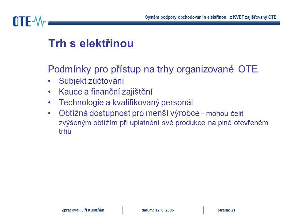 Trh s elektřinou Podmínky pro přístup na trhy organizované OTE