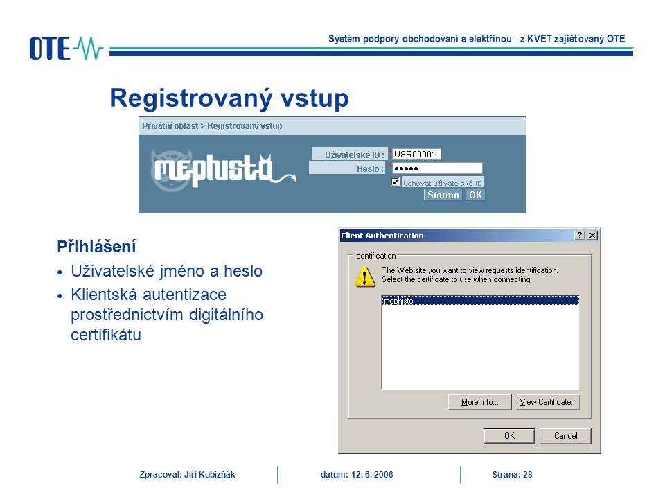 Registrovaný vstup Přihlášení Uživatelské jméno a heslo