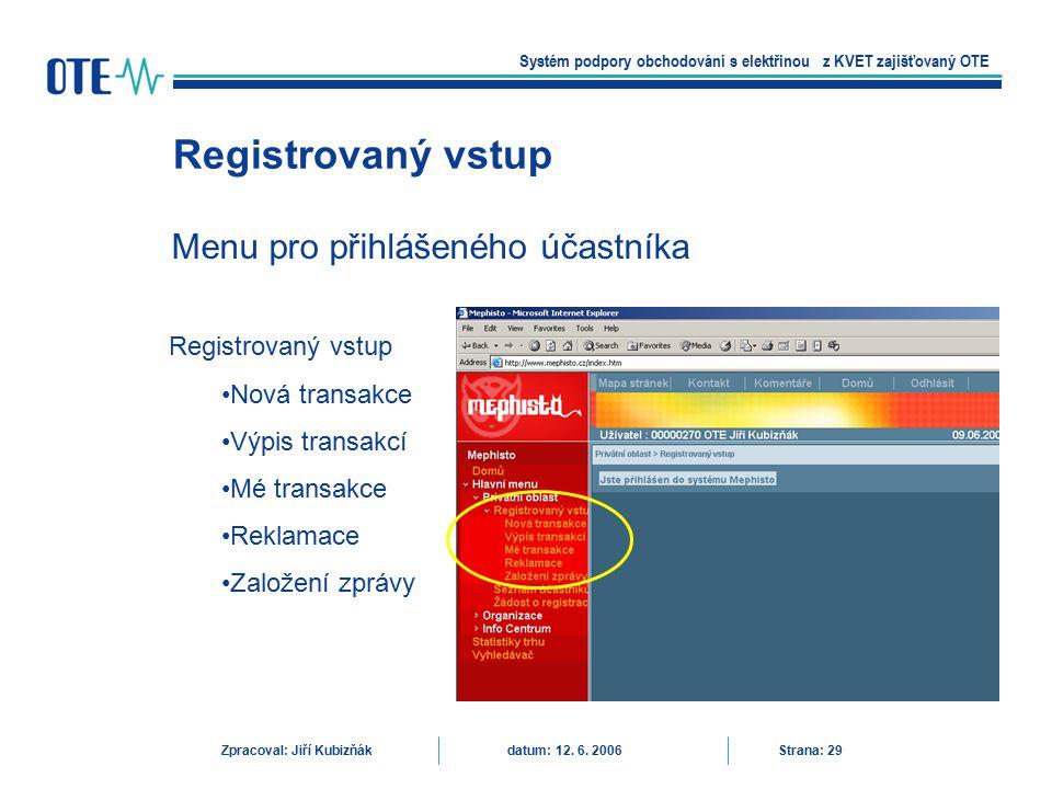 Registrovaný vstup Menu pro přihlášeného účastníka Registrovaný vstup