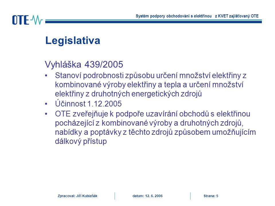 Legislativa Vyhláška 439/2005