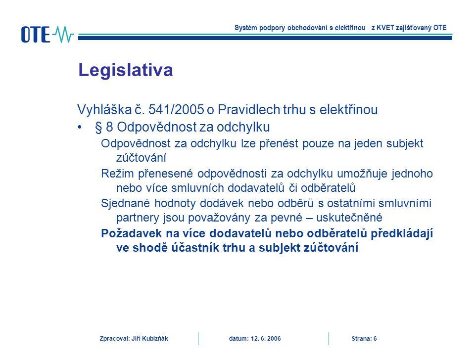 Legislativa Vyhláška č. 541/2005 o Pravidlech trhu s elektřinou