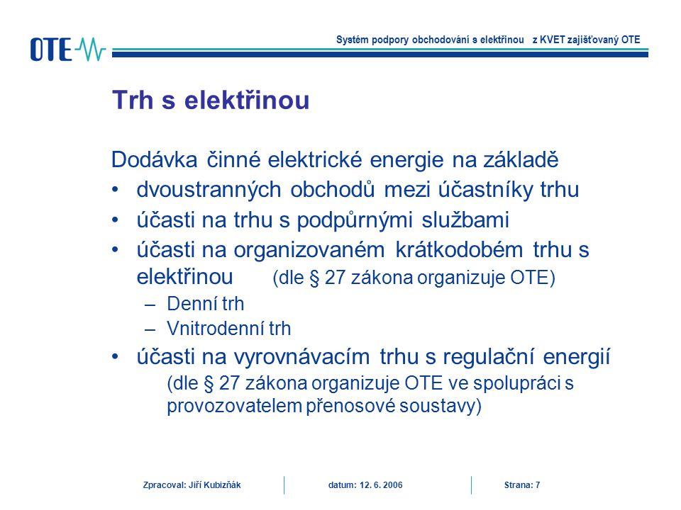 Trh s elektřinou Dodávka činné elektrické energie na základě