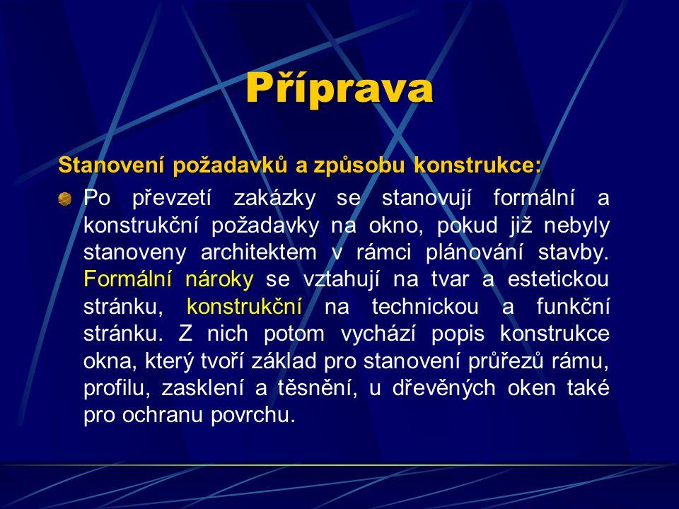 Příprava Stanovení požadavků a způsobu konstrukce: