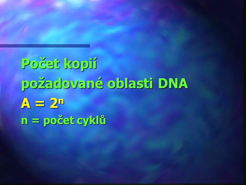 požadované oblasti DNA A = 2n
