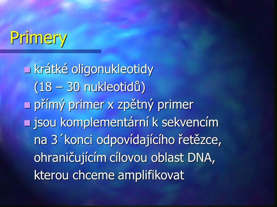 Primery krátké oligonukleotidy (18 – 30 nukleotidů)