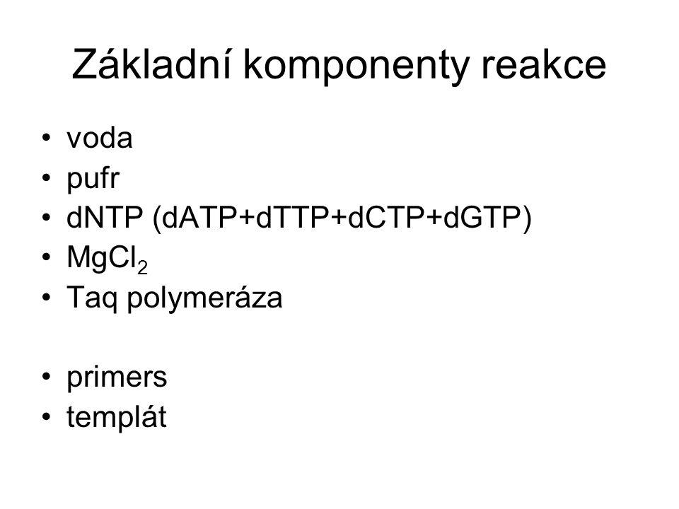 Základní komponenty reakce