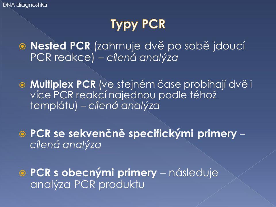 DNA diagnostika Typy PCR. Nested PCR (zahrnuje dvě po sobě jdoucí PCR reakce) – cílená analýza.