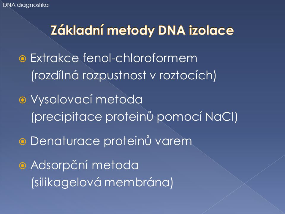 Základní metody DNA izolace