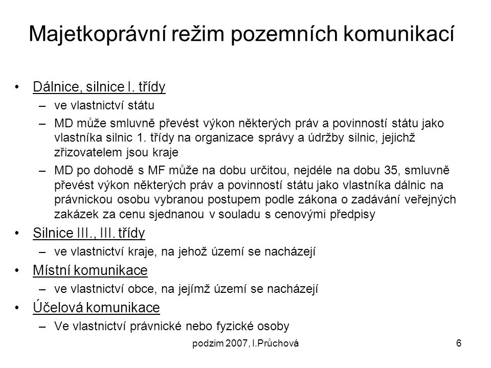Majetkoprávní režim pozemních komunikací