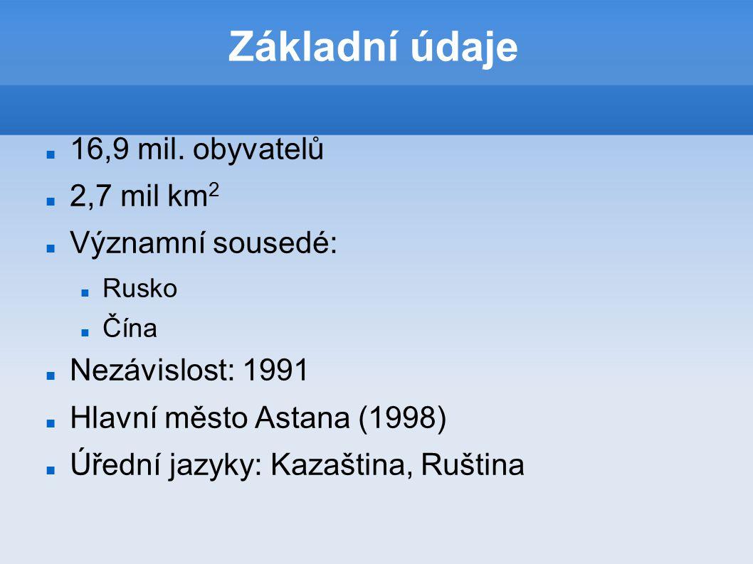 Základní údaje 16,9 mil. obyvatelů 2,7 mil km2 Významní sousedé: