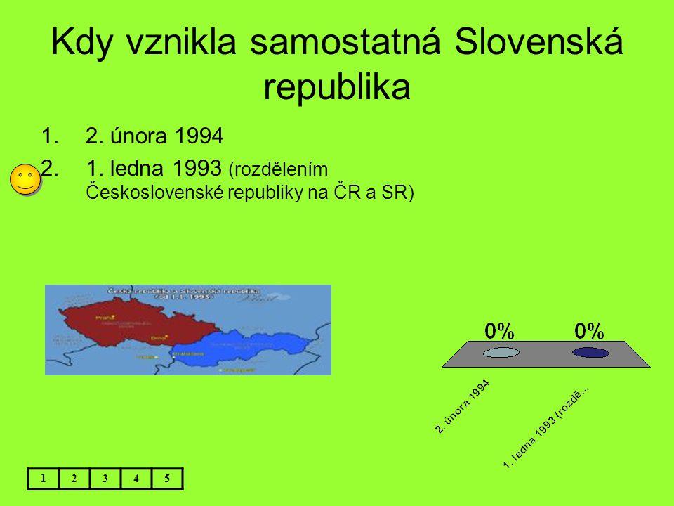 Kdy vznikla samostatná Slovenská republika