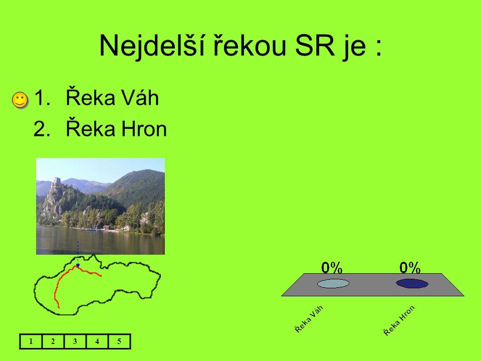 Nejdelší řekou SR je : Řeka Váh Řeka Hron 1 2 3 4 5