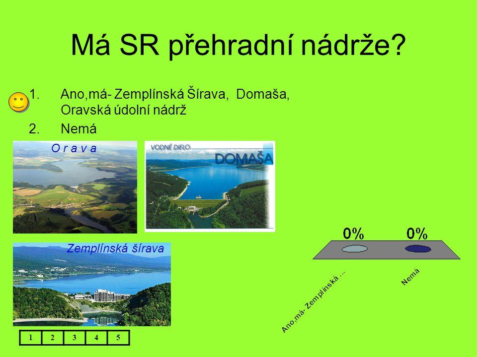 Má SR přehradní nádrže Ano,má- Zemplínská Šírava, Domaša, Oravská údolní nádrž. Nemá. O r a v a.