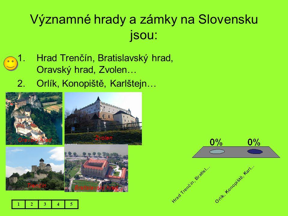 Významné hrady a zámky na Slovensku jsou: