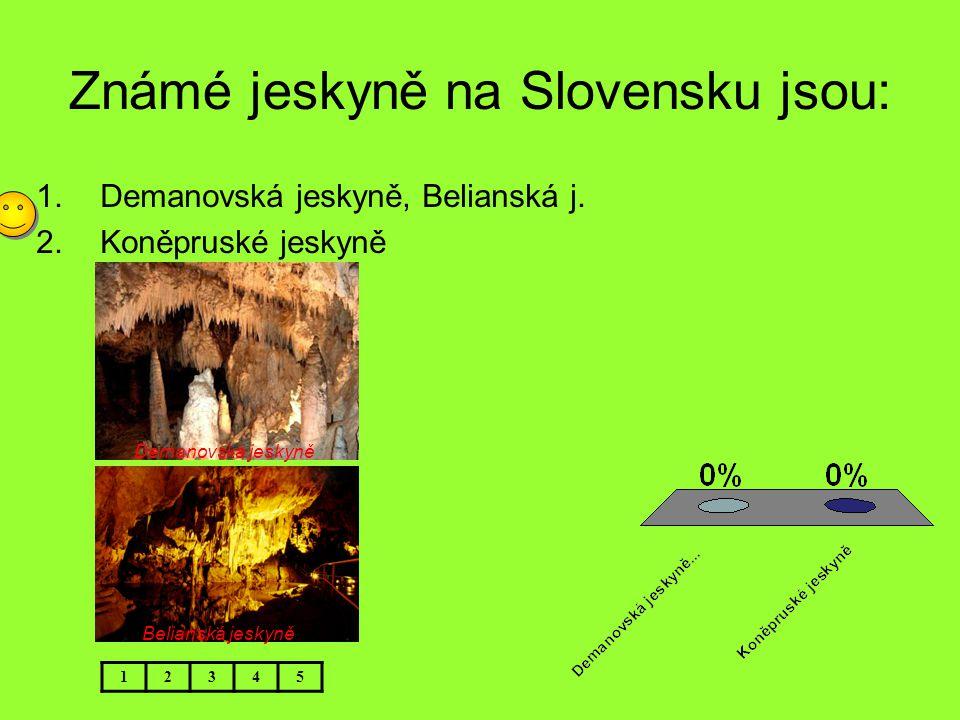Známé jeskyně na Slovensku jsou: