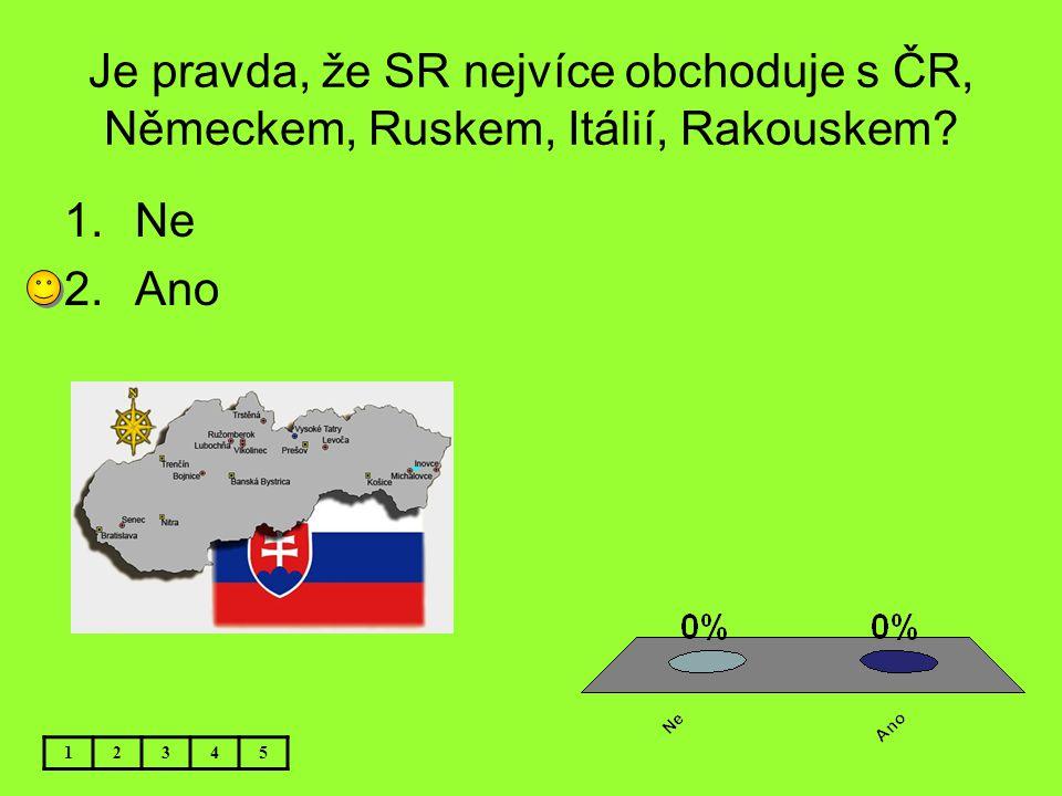 Je pravda, že SR nejvíce obchoduje s ČR, Německem, Ruskem, Itálií, Rakouskem