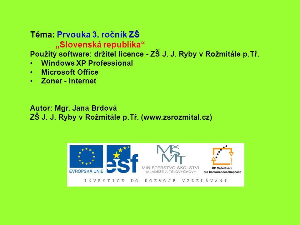 """Téma: Prvouka 3. ročník ZŠ """"Slovenská republika"""